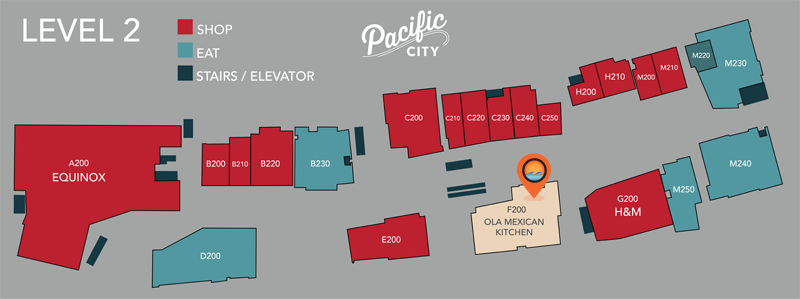 We're on level 2 at Pacific City, right off the escalator